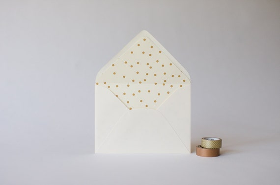 matte gold confetti dot lined envelopes - sets of 10