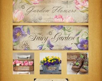 Flower collage labels / digital download sheet