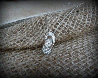 Flip flop necklace, Sterling silver sandle necklace