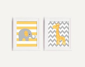 50% OFF.Elephant and giraffe print, giraffe Nursery Print, Yellow and Gray nursery art, Elephant giraffe decor,Set of 2, giraffe nursery art