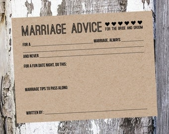 Kraft Wedding Advice Cards - Bride and Groom Advice Cards