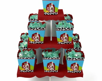Farm Animals Centerpiece Stand and 13 Treat Boxes - Baby Shower and Birthday Party Favors & Candy Boxes