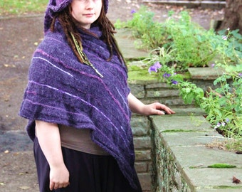 Mauve Purple Magical Fairy Poncho handknitted in mohair with its pointed / pixie hat - fiber wearable textile art