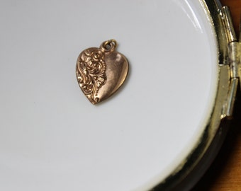 Victorian/ Art Nouveau Gold Filled Puffy Heart Charm