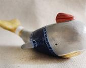 Jacques - Scientist Explorer Whale Polymer Clay Animal Totem Coastal Nautical Sea
