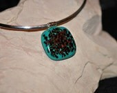 Teal turquoise Fused Glass Necklace with dark red detail, Fused Glass Pendant, abstract necklace