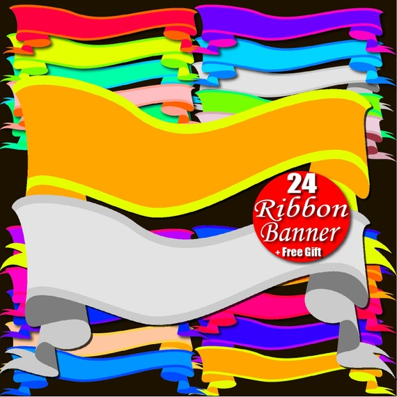 Digital Ribbon Banner Clipart Rainbow Border Frame Tag Ribbon Clip Art Personalized ribbon clipart custom ribbon label print shop banner diy