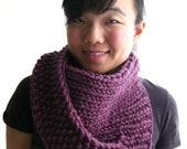 PATTERN for Chunky Twist Cowl - Asymmetric Circle Scarf With Overlapping Moss and Ribbed Strips