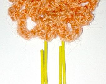 Crochetted orange flower bookmark