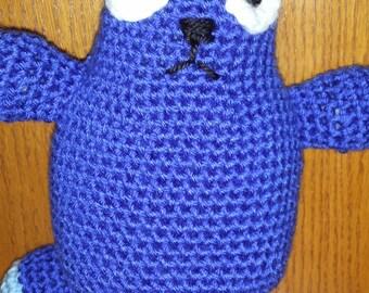Peg + Cat, Plush Cat toy, stuffed animal, soft crochet, blue cat