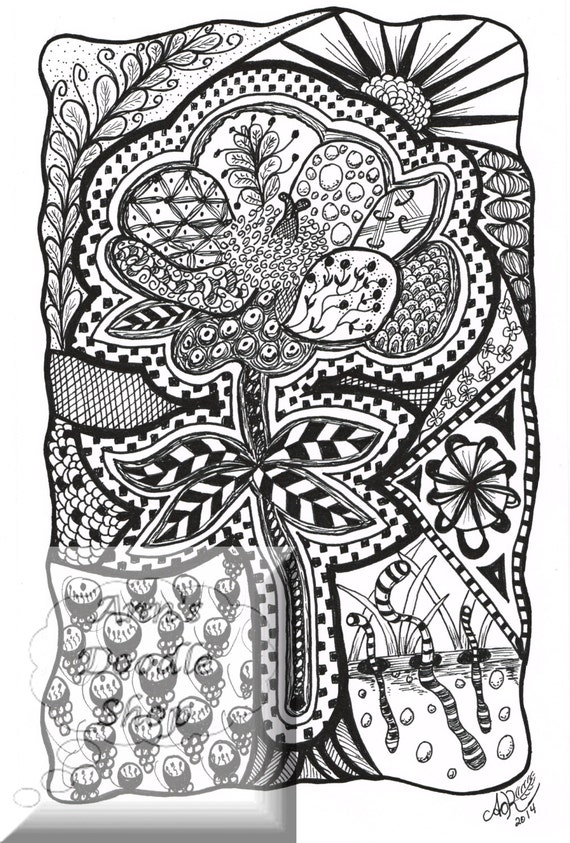 Zentangle® Coloring Page: Flower Series 0102 Instant