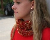 Shades of Orange Infinity Scarf, Hand Knit, Fair Trade
