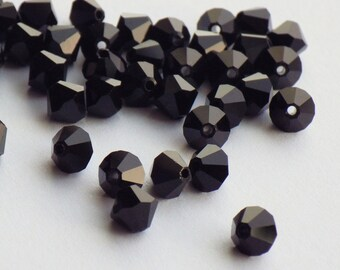 Vintage Swarovski Crystal Beads, Jet, Article 5301, 5mm Jet, 50 Vintage Crystal Beads, Black Crystal Beads