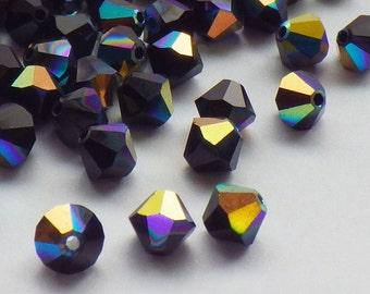 50 Vintage Swarovski Crystal Beads, Jet 5301 With Aurore Boreale Finish, 5mm Jet Black Crystal Beads, 50 Vintage Crystal Beads