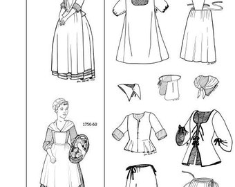 NFE1718F – Pattern for Girls' Sets of Clothing – 1660s and 1750s / Patron pour Ensembles pour fillettes – années 1660 et 1750