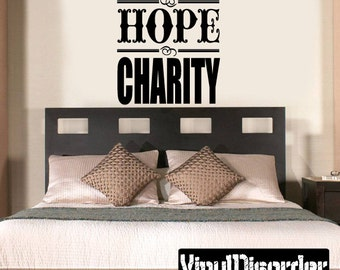 Faith Hope Charity Religious Quote Vinyl Wall Decal Or Car Sticker - Mv004ET