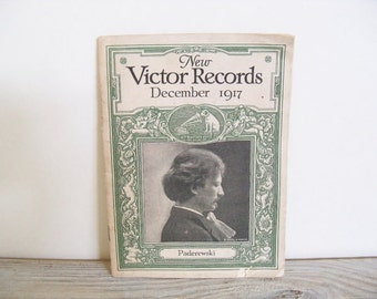 Vintage Victor Records Catalog Antique Catalog Coffey Book Store Charleston Boston Symphony Orchestra 1917