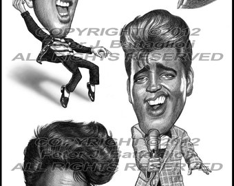 Elvis Presley Poster Caricature Limited Edition Art Print by Battaglioli Studios