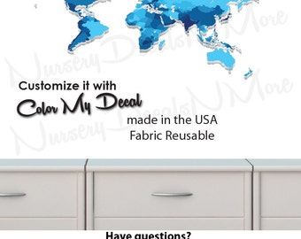 World Map Decal, Childrens World Map Stickers, Map Wall Stickers (WorldmapExtruded_Blue_MINI )