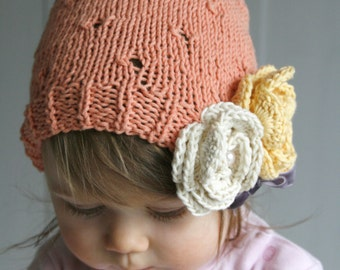 KNITTING PATTERN summer lace hat Mia with crochet flower (newborn, baby, toddler, child, adult sizes)