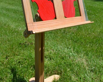 Music Stand, solid oak wood with decorative red  violin panel inserts, book stand