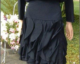 80s Fabulous Designer ST. GILLIAN Vertical Ruffle Black DRESS with flattering fitted upper hip panel Size 10-12