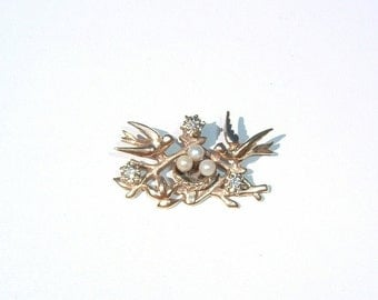 80s Birds and Nest with 3 Pearl Eggs and 3 Brilliant Cut Diamonds  14 K Gold Pendant Custom Made