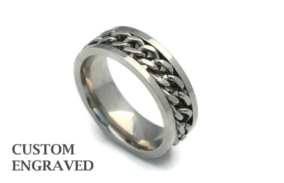 engraved stainless steel ring engraved by themetallicboutique
