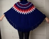 SALE! Vintage 70's Beautifully Knitted Red, White and Blue PONCHO - one size fits most