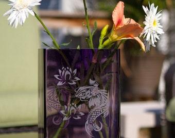 Vase - Koi - Large Purple Vase - Koi and Water Lily Design - VP1