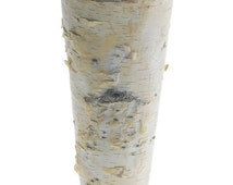 "SALE Birch Bark Vase Tall Rustic 9"" Vase Wood Wrapped Planter Wedding Centerpiece Birch and Zinc Flower Pot"