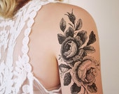 Large floral temporary tattoo / rose temporary tattoo / flower temporary tattoo / boho gift idea / festival accessoire / festival tattoo