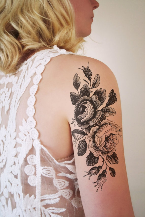 large floral temporary tattoo rose temporary by tattoorary