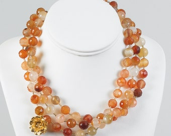 Carnelian and 24K Gold Vermeil Necklace.