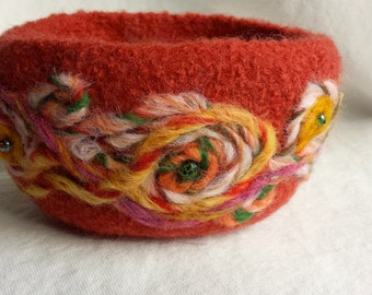 Orange Folk Art Felted Beaded Bowl