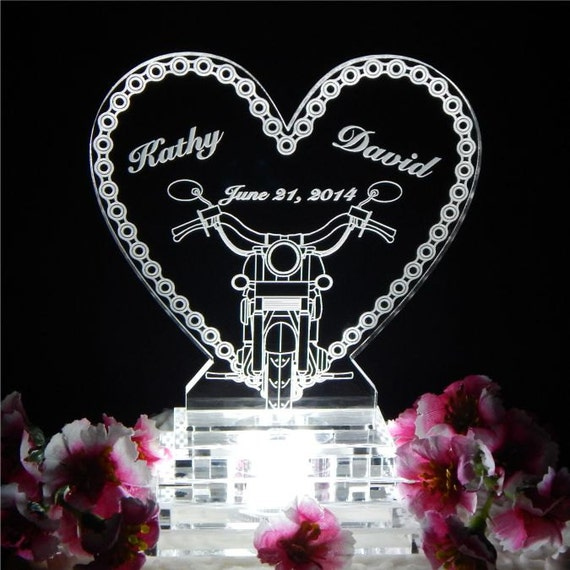 Motorcycle Chain Lighted Wedding Cake Topper Acrylice Cake Top