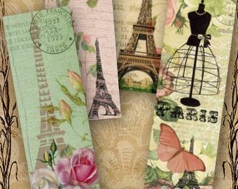 Shabby Chic Paris Bookmarks - Digital Collage Sheet Printable Download Paris Ephemera Vintage Paper Craft Eiffel Tower Images