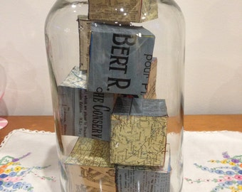 wooden childrens' blocks in vintage glass jar