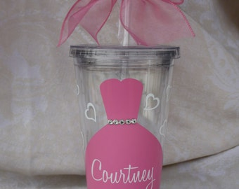 Bridesmaid Tumbler. Bridesmaid cup. Personalized Bridesmaid tumbler. Shower Gift. Bridesmaid Cups with Straws.Bride Cup (item #3-1-K)