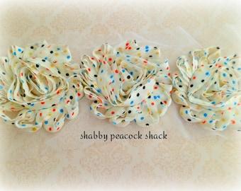 "Ivory Polka Dots Shabby Chiffon Rose Trim - 2.5"" Chiffon Flowers Wholesale Frayed Fabric Flowers, DIY Headband Hair Bow Supplies"