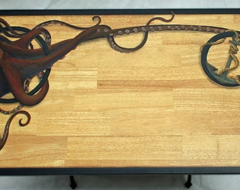 SOLD...Painted Furniture Desk. One-of-a-kind,  Steampunk Nautical design on hardwood top with base from vintage sewing machine.