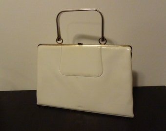 Vintage White Patent Vinyl or Leather Handbag with Patent Trimmed Metal Handle, Gold Tone Latch and Trim