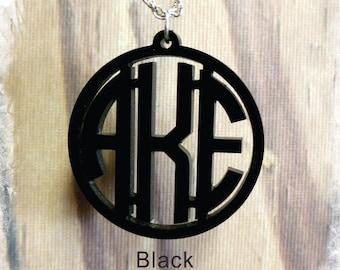 Monogram Necklace - Circle Monogram 3 Initial Name Acrylic Monogram Jewelry , Wedding Gift