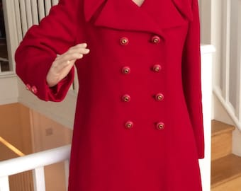 Cherry red double breasted 1950's coat
