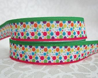 SALE****Dot FOE -Fold Over Elastic 5/8 inch by the yard...Print FOE, Headbands, Hair Ties and More!