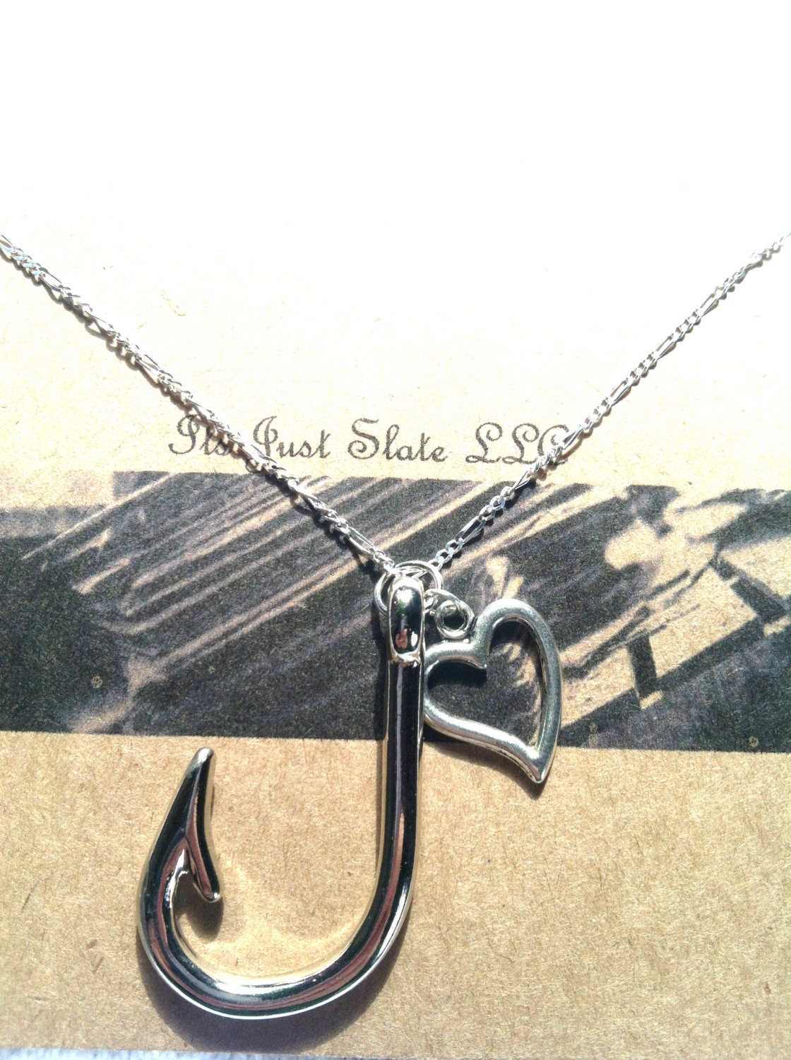 Sterling silver fishing necklace love to fish by geturshineon for Fishing hook necklace