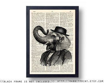 Hipster Elephant Dictionary Art Print, 8x10 Wall Art Print, Wall Decor, Dictionary Page Print, illustration Poster, Wall Decal