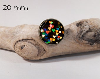 little hart pin 20 mm diam. Glass dome on pin