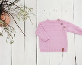 Pink baby sweater / Hand knitted alpaca children sweater /Pink girl sweater / Kids sweater / Baby cardigan / Toddler sweater