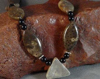 Palm Jasper Necklace with Onyx